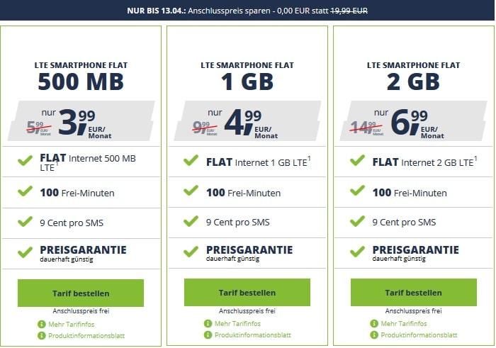 freenet Mobile alle Smartphonetarife ohne Anschlussgebühr