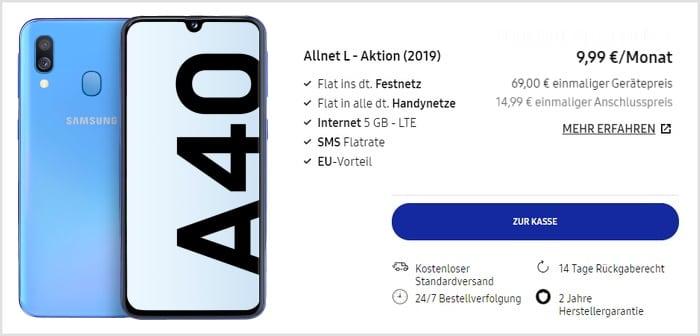 Samsung Galaxy A40 + Blau Allnet L im Samsung Online Shop