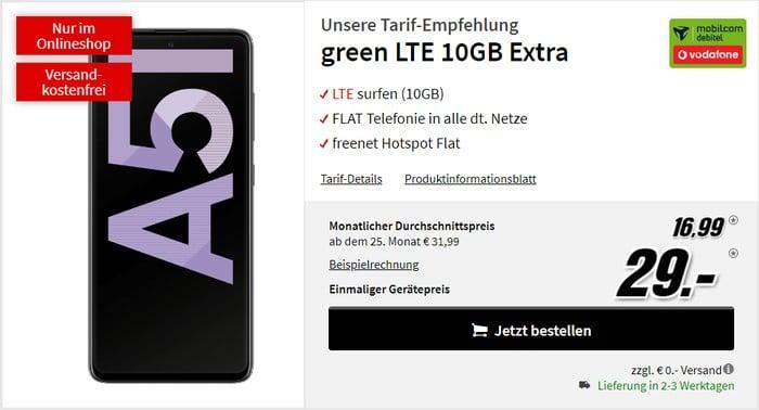 Samsung Galaxy A51 + mobilcom-debitel green LTE (Vodafone-Netz) bei MediaMarkt