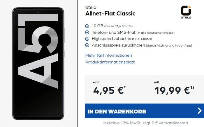 Samsung Galaxy A51 + otelo Allnet Flat Classic bei Preisboerse24