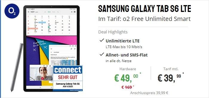 Samsung Galaxy Tab S6 LTE + o2 Free Unlimited Smart bei Sparhandy