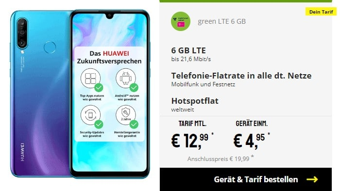 Huawei P30 Lite + mobilcom-debitel green LTE (Telekom-Netz) bei Sparhandy