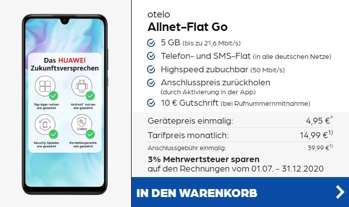 Huawei P30 Lite + otelo Allnet Flat Go bei Preisboerse24
