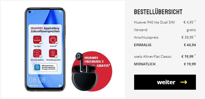 Huawei P40 lite + Huawei FreeBuds 3 + otelo Allnet Flat Classic bei Sparhandy