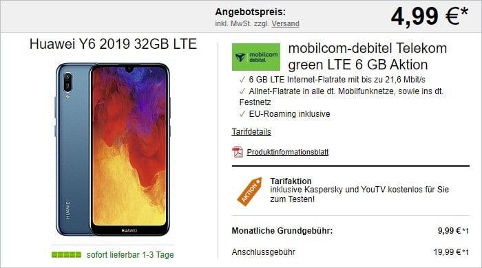 Huawei Y6 (2019) + mobilcom-debitel green LTE (Telekom-Netz) bei LogiTel