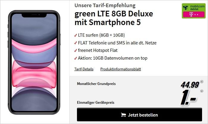 iPhone 11 mit green LTE 18 GB im Telekom-Netz bei MediaMarkt