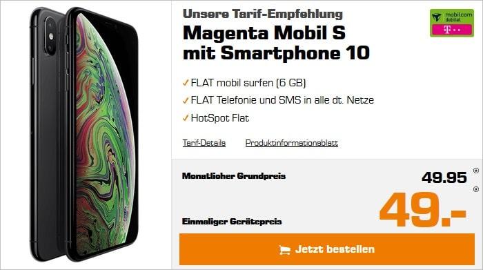 iPhone Xs Max mit mobilcom-debitel Magenta Mobil S im Telekom-Netz bei Saturn