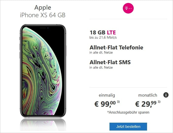 iPhone Xs mit green LTE 18 GB im Telekom-Netz bei modeo