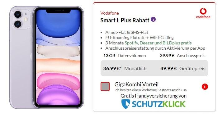 iPhone 11 + Vodafone Smart L Plus bei Preisboerse24