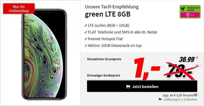 iPhone Xs (256 GB) + mobilcom-debitel green LTE (Telekom-Netz) bei MediaMarkt
