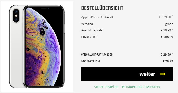 iPhone Xs + otelo Allnet Flat Max bei Sparhandy