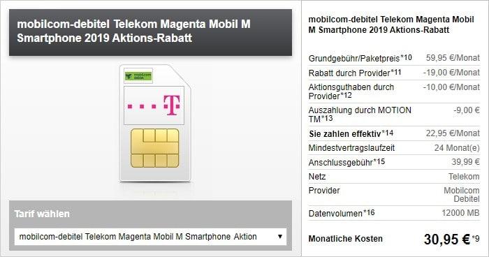 mobilcom-debitel Magenta Mobil M (Telekom-Netz) Aktion bei Modeo