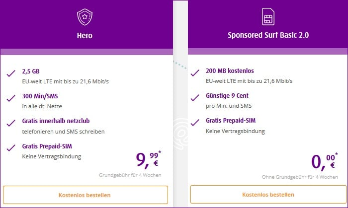 netzclub Sponsored Surf Basic und Hero