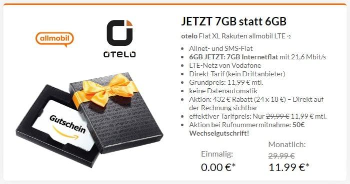 Flat XL Rakuten allmobil (otelo) + 35 € Amazon-Gutschein bei Preisboerse24