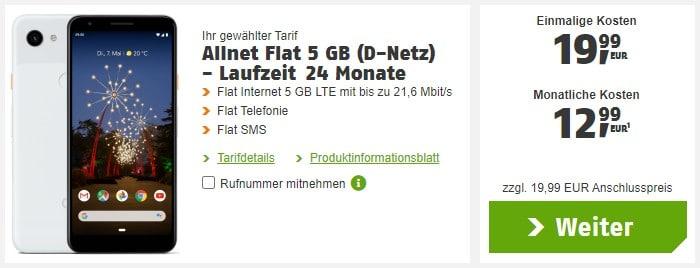 Google Pixel 3a + klarmobil Allnet Flat 5 GB LTE im Vodafone-Netz bei klarmobil