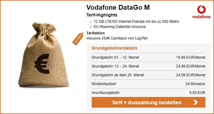 Vodafone DataGo M mit 250 € Cashback bei LogiTel