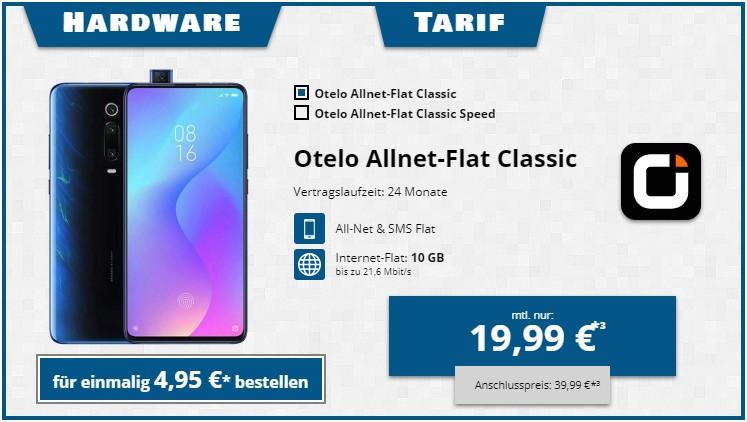 Xiaomi Mi 9T + otelo Allnet-Flat Classic bei Tophandy