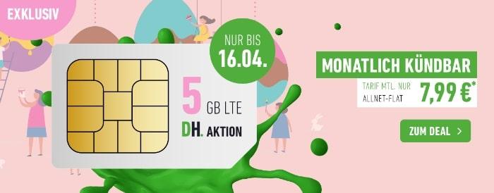 DeinHandy Allnet Flat mit 5 GB LTE Aktion im Telefónica-Netz