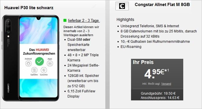 Huawei P30 Lite mit congstar Allnet Flat M 8 GB LTE bei Handyflash