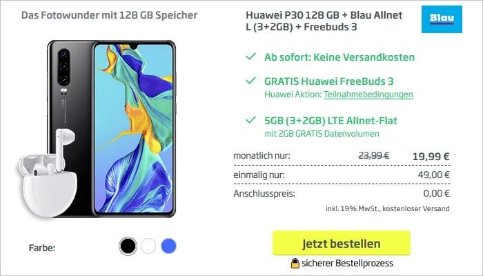 Huawei P30 mit FreeBuds 3 zum Blau Allnet L mit 3+2 GB bei curved