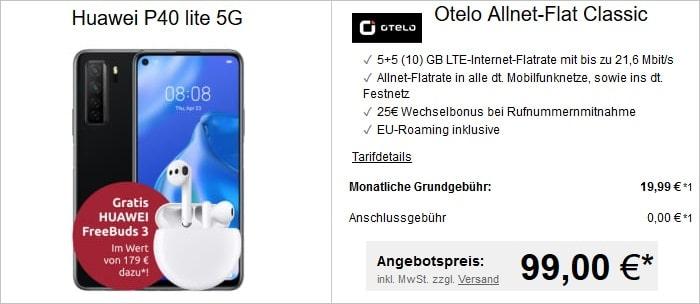 Huawei P40 lite 5G mit FreeBuds 3 zur otelo Allnet Flat Classic bei LogiTel