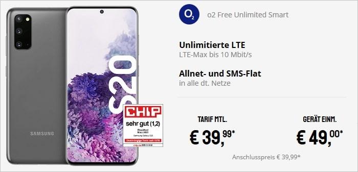 Samsung Galaxy S20 mit o2 Free Unlimited Smart bei Sparhandy