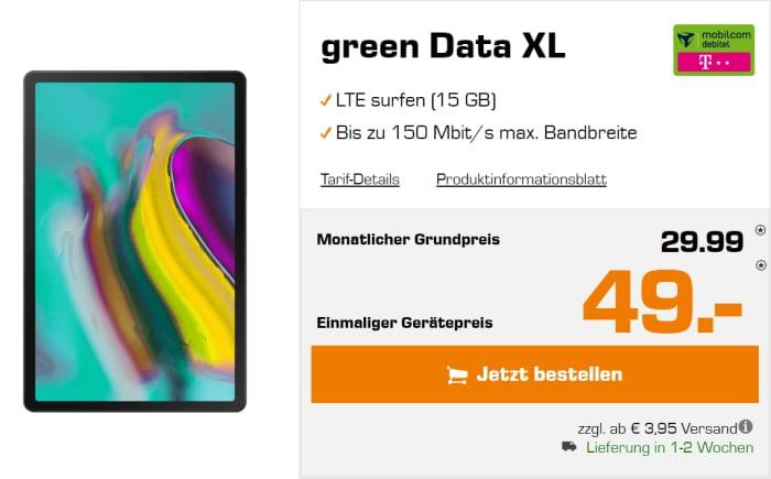 Samsung Galaxy Tab S5e mit green Data Telekom Datentarif