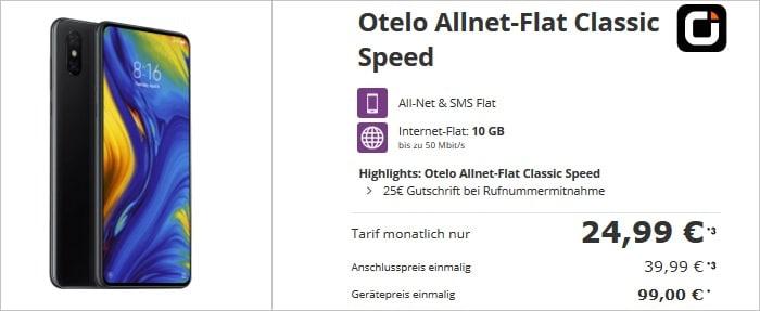 Xiaomi Mi Mix 3 mit otelo Allnet Flat Classic Speed bei Talkthisway