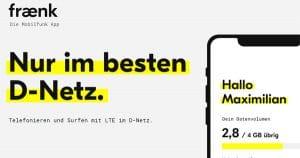 fraenk: Monatlich kündbare Allnet-Flat & 4 GB LTE im Telekom-Netz mit 10 € Grundgebühr