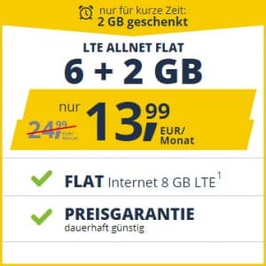 freenet Mobile 6+2 GB LTE Aktion