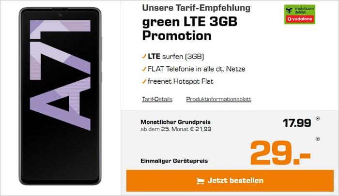 Samsaung Galaxy A71 mit green LTE 6 GB im Vodafone-Netz bei Saturn