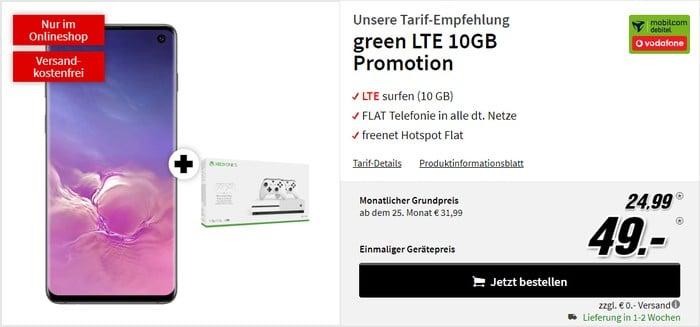 Samsung Galaxy S10 + Xbox One S & 2. Controller + mobilcom-debitel green LTE (Vodafone-Netz) bei MediaMarkt