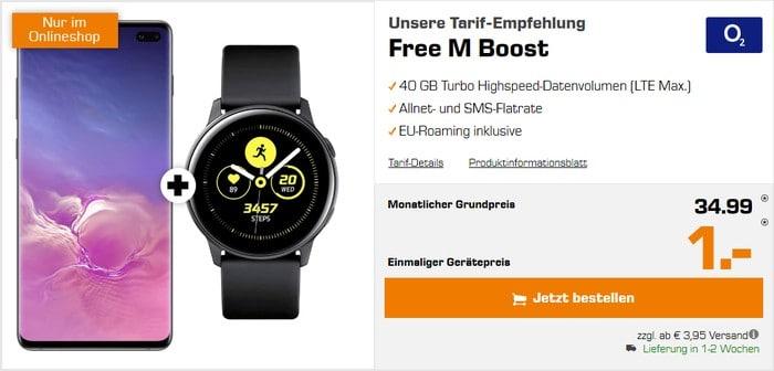 Samsung Galaxy S10 Plus + Samsung Galaxy Watch Active (Schwarz) + o2 Free M Boost bei Saturn