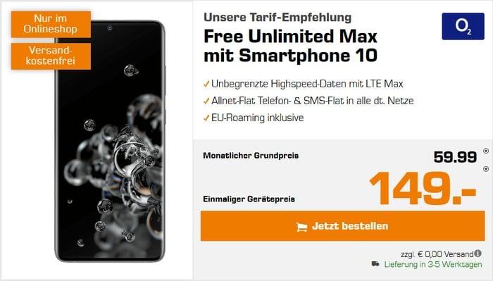 Samsung Galaxy S20 Ultra 5G + o2 Free Unlimited Max bei Saturn