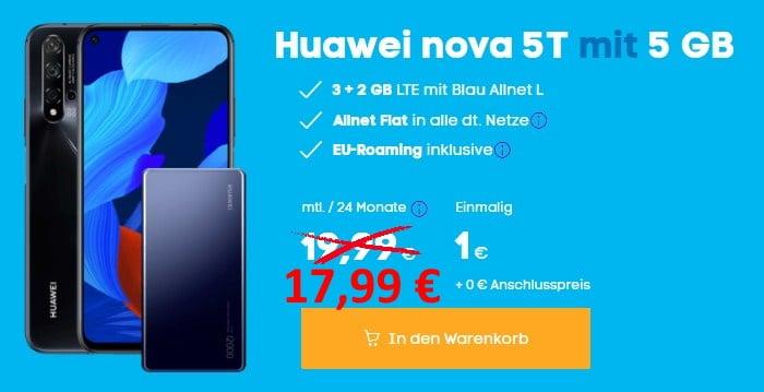 Huawei Nova 5T + Huawei SuperCharge Powerbank + Blau Allnet L bei Blau