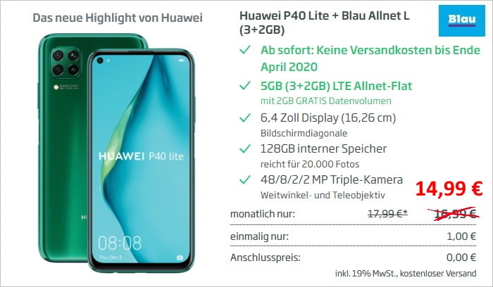 Huawei P40 Lite + Blau Allnet L (Aktion) bei Curved