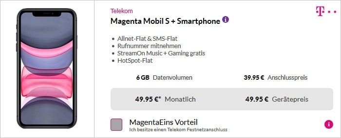 iPhone 11 mit Telekom Magenta Mobil S bei Pb24
