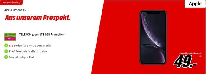 Apple iPhone Xr mit 10 GB LTE und Allnet-Flat im Telekom-Netz - green LTE mobilcom-debitel