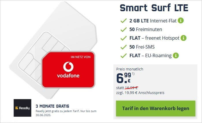mobilcom-debitel Smart Surf LTE (Vodafone-Netz) und 3 Monate Readly