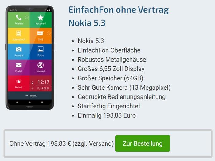 EinfachFon mit Vertrag: Guter Deal mit dem Nokia 5.3