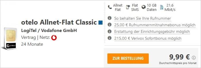 otelo Allnet Flat Classic mit 215 € Sofortbonus bei Verivox
