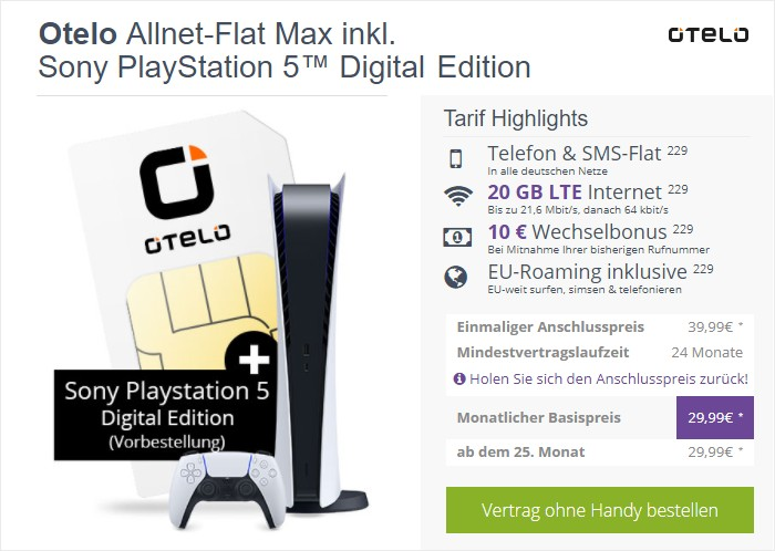 otelo Allnet Flat Max + Sony PlayStation 5 Digital Edition bei FLYmobile