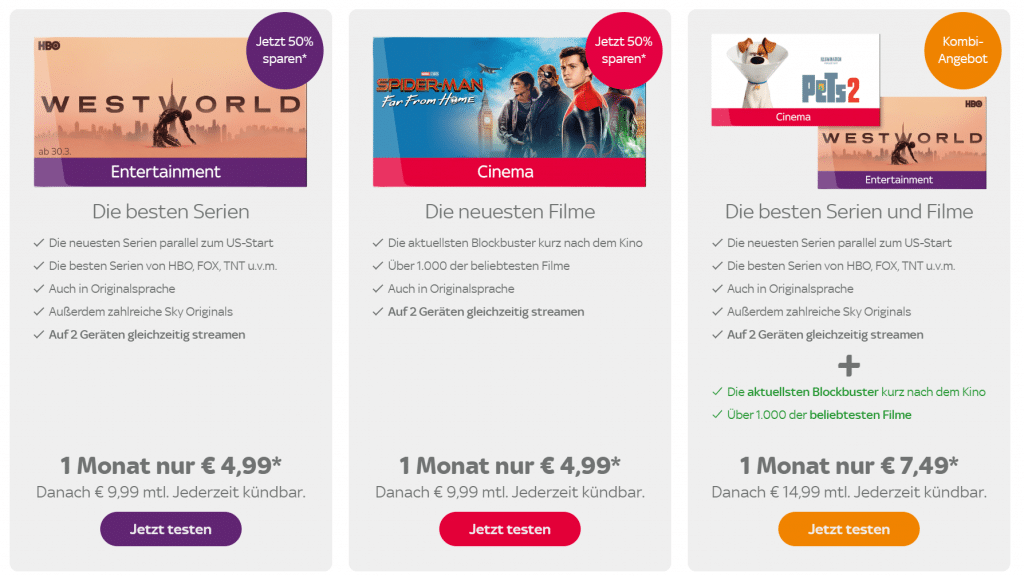 Sky Ticket im Video Streaming Vergleich