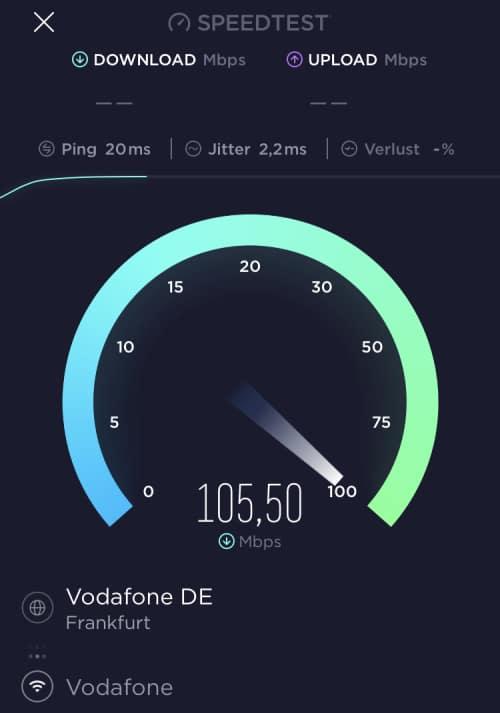 Speedtest Wi-Fi 5 + Vectoring mit iPhone SE 2020 Test