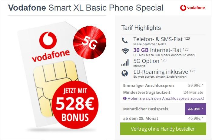 Vodafone Smart XL inkl. 5G-Option & Cashback bei FLYmobile