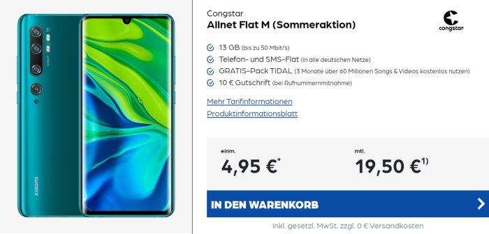 Xiaomi Mi Note 10 + congstar Allnet Flat M Aktion bei Preisboerse24