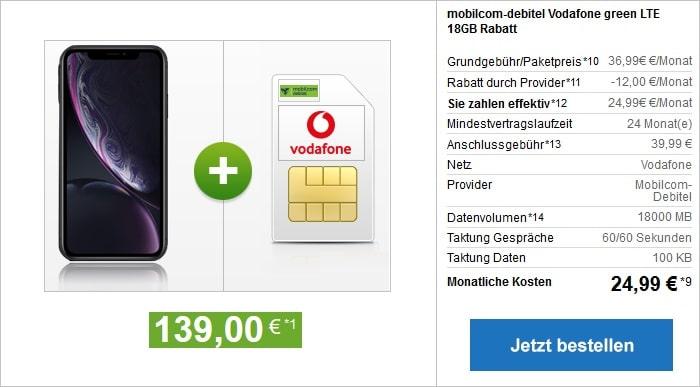 Apple iPhone XR 126 GB B-Ware mit green LTE 18 GB im Vodafine-Netz bei modeo