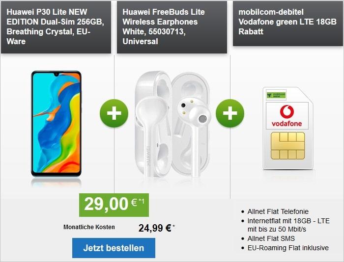 Huawei P30 Lite New Edition + FreeBuds Lite + green LTE 18 GB im Vodafone-Netz bei modeo