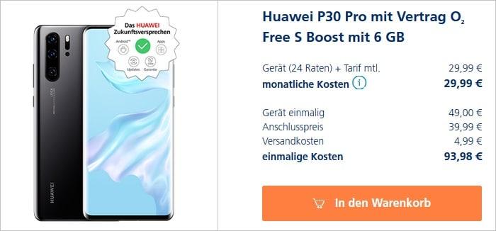 Huawei P30 Pro mit o2 Free S Boost bei o2