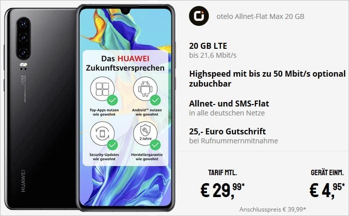 Huawei P30 mit otelo Allnet-Flat Max mit 20 GB LTE bei Sparhandy